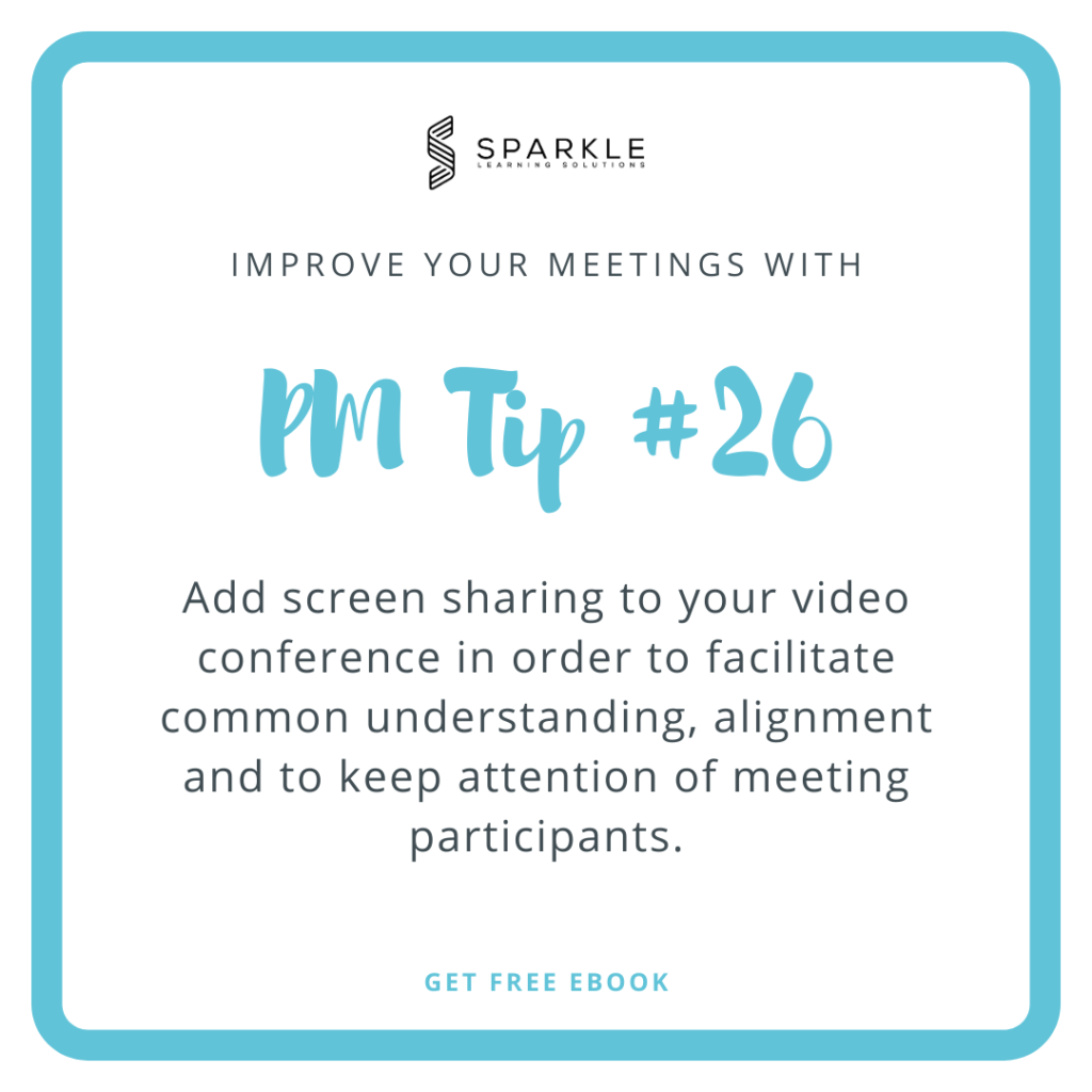 If you are just starting your career and if you are still learning how to lead meetings, I would recommend coupling your conference with screen sharing in order to make your way through meetings.